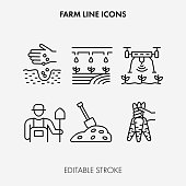Farming line icons. Editable Stroke