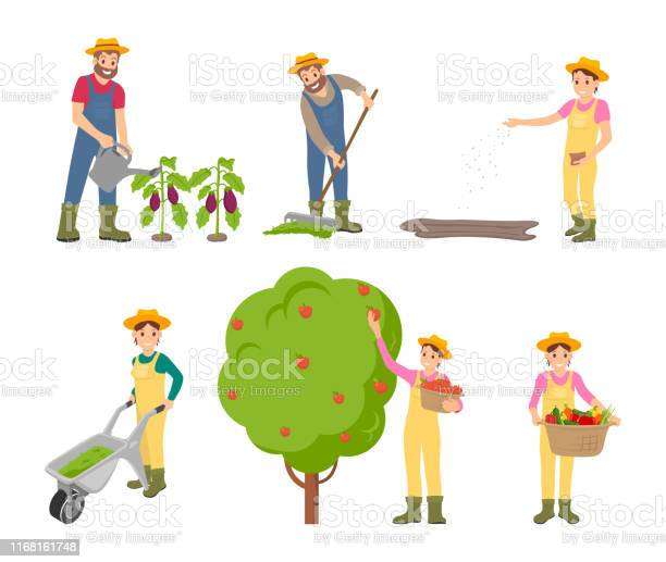 Farming Man And Woman Set Vector Illustration Stock Illustration - Download Image Now