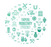 Farming productivity and efficiency outline style symbols on modern gradient background. Line vector icons for infographics, mobile and web designs.