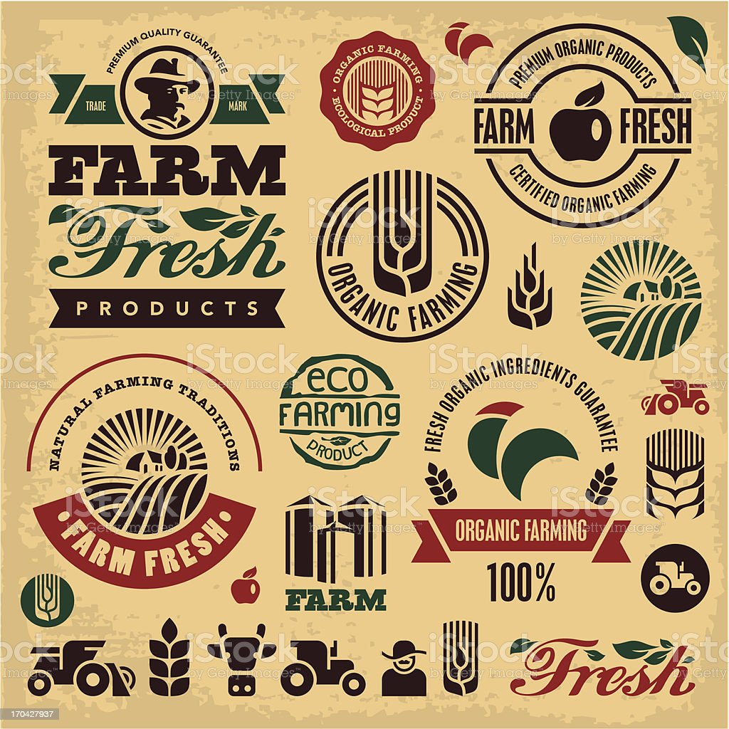 Farming sign set vector art illustration