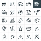 A set of Farming icons that include editable strokes or outlines using the EPS vector file. The icons include sprouts, plants, tractor, crops, field, cow, livestock, truck, barn, farmer, apple tree, farmer tending fields, asparagus, apple, artichoke, hay bail, windmill, farmer raking, carrot, vegetables, pitchfork, planting seeds, growing plants, growing trees and other related icons.