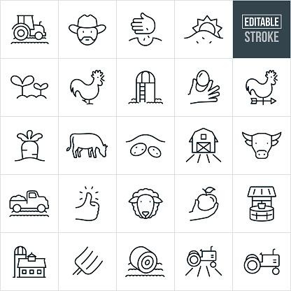 Farming Thin Line Icons - Editable Stroke