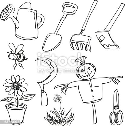 Farming Tools Collection Stock Vector Art Amp More Images Of