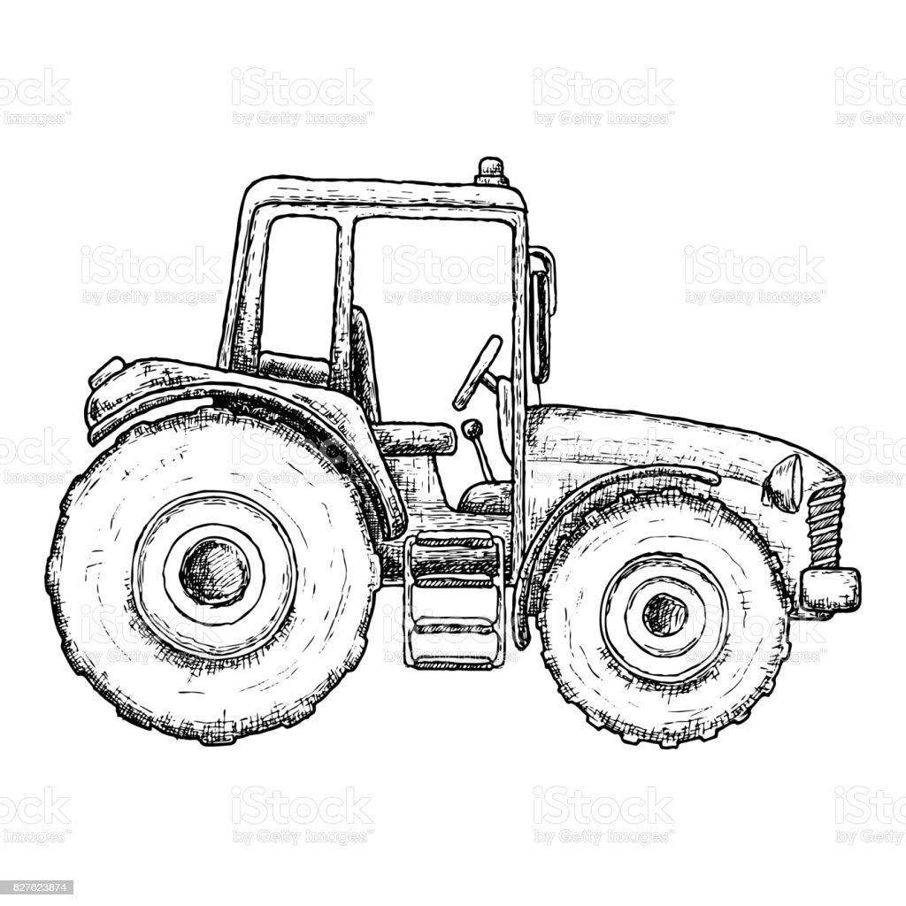 Ilustración de Dibujo De Tractor Agrícola y más banco de imágenes de ...