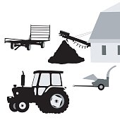 A vector silhouette illustration of farming equipment including a tractor, trailer, and bailer.
