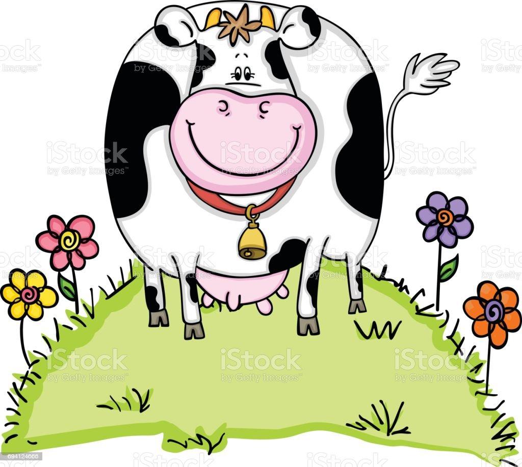Niedlich Kuh Bauernhof Tier Blume Rasen Garten Blume Fröhlich Essen