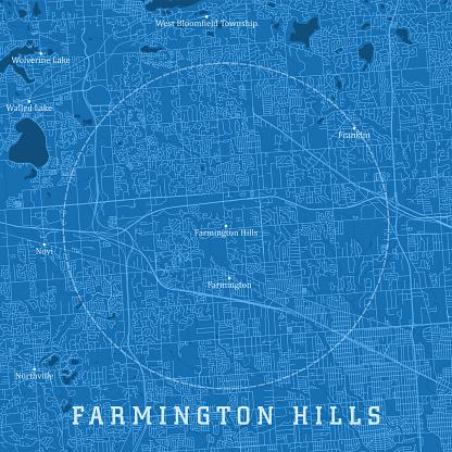 Farmington Hills MI City Vector Road Map Blue Text