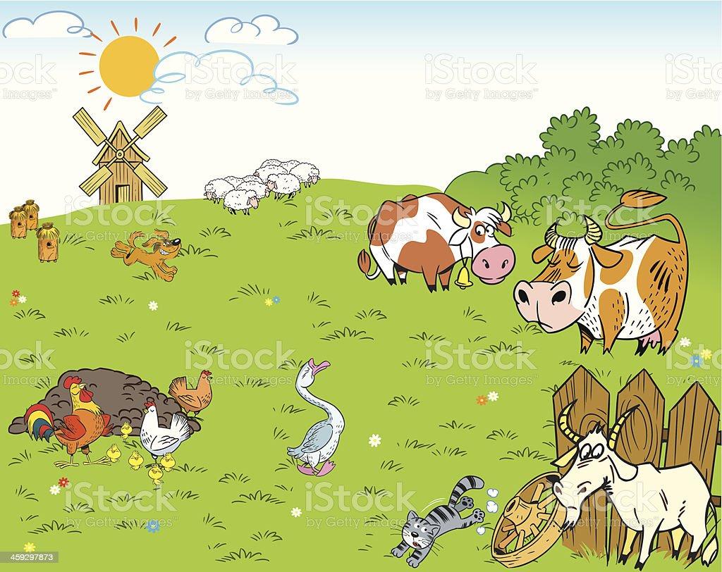 farmyard vector art illustration