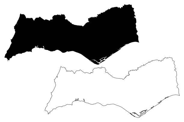 ilustrações de stock, clip art, desenhos animados e ícones de faro district (portuguese republic, portugal) map vector illustration, scribble sketch faro map - algarve