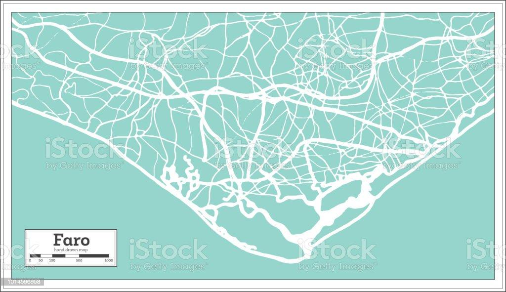 Carte de ville de Faro Portugal dans un Style rétro. Carte muette. - Illustration vectorielle
