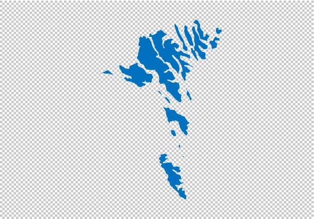 stockillustraties, clipart, cartoons en iconen met faeröer eilanden kaart-hoge gedetailleerde blauwe kaart met provincies/regio's/staten van faeröer. faeröer eilanden kaart geïsoleerd op transparante achtergrond. - faeröer