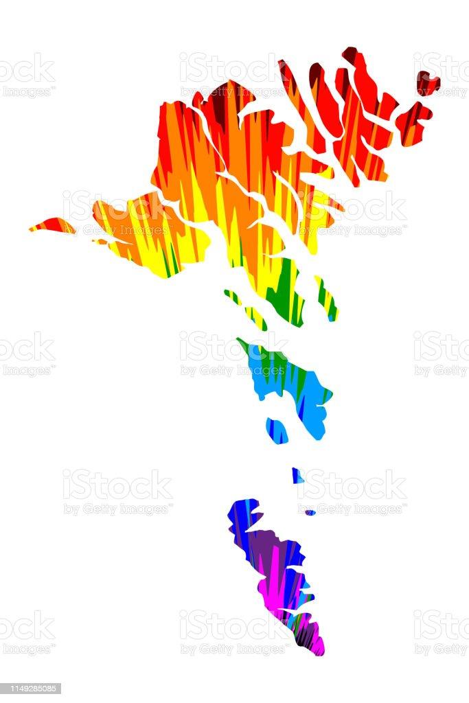 Färöer Inseln Karte.Färöerinselnkarte Ist Regenbogen Abstrakt Buntes Muster Färöerinseln