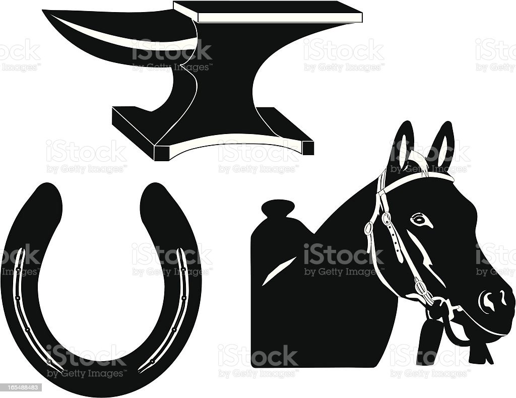 Farrier Science Silhouette royalty-free stock vector art