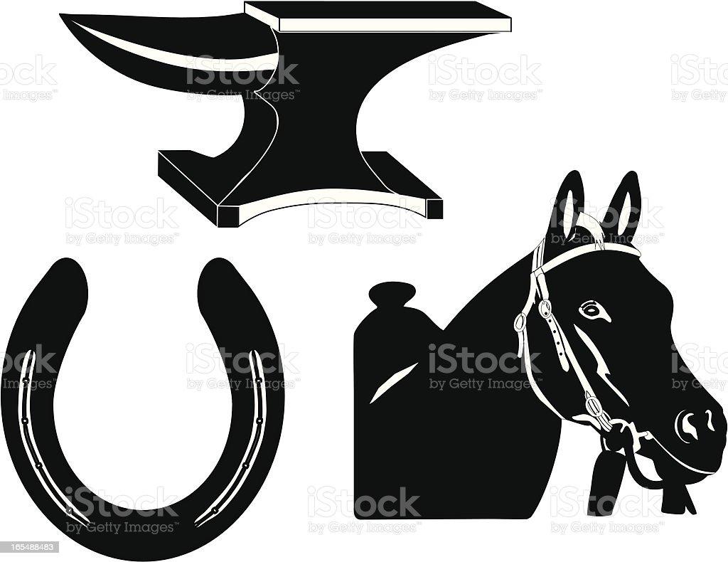 Farrier Science Silhouette vector art illustration