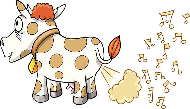Farting Music Cow vector art illustration