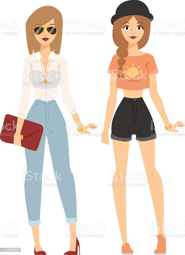 Fashion abstract vector girls silhouette isolated on fashion background vector art illustration