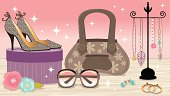 Fashion Accessories Boutique featuring: purse, sunglasses, earrings, necklaces, flowers, shoes and hatbox.