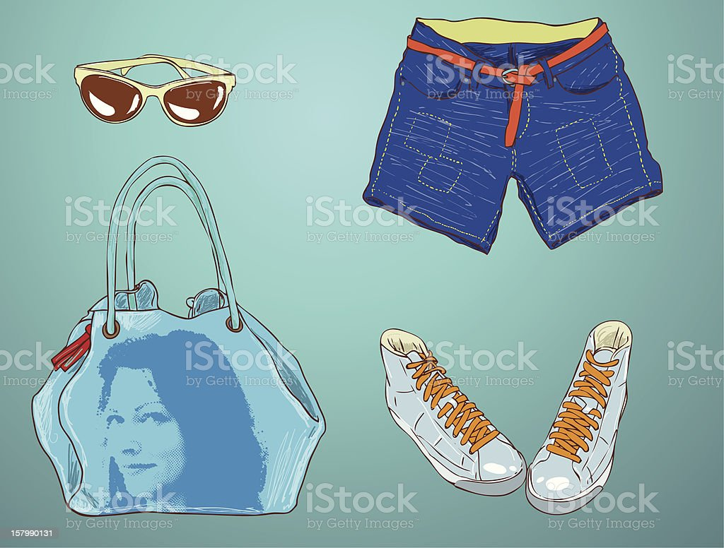 Fashion Accessories - Summer royalty-free stock vector art