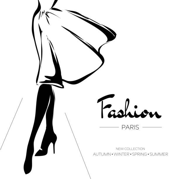 ilustraciones, imágenes clip art, dibujos animados e iconos de stock de folleto de publicidad, tarjetas de visita de parís de moda, ilustración de vector dibujado a mano - moda parisina