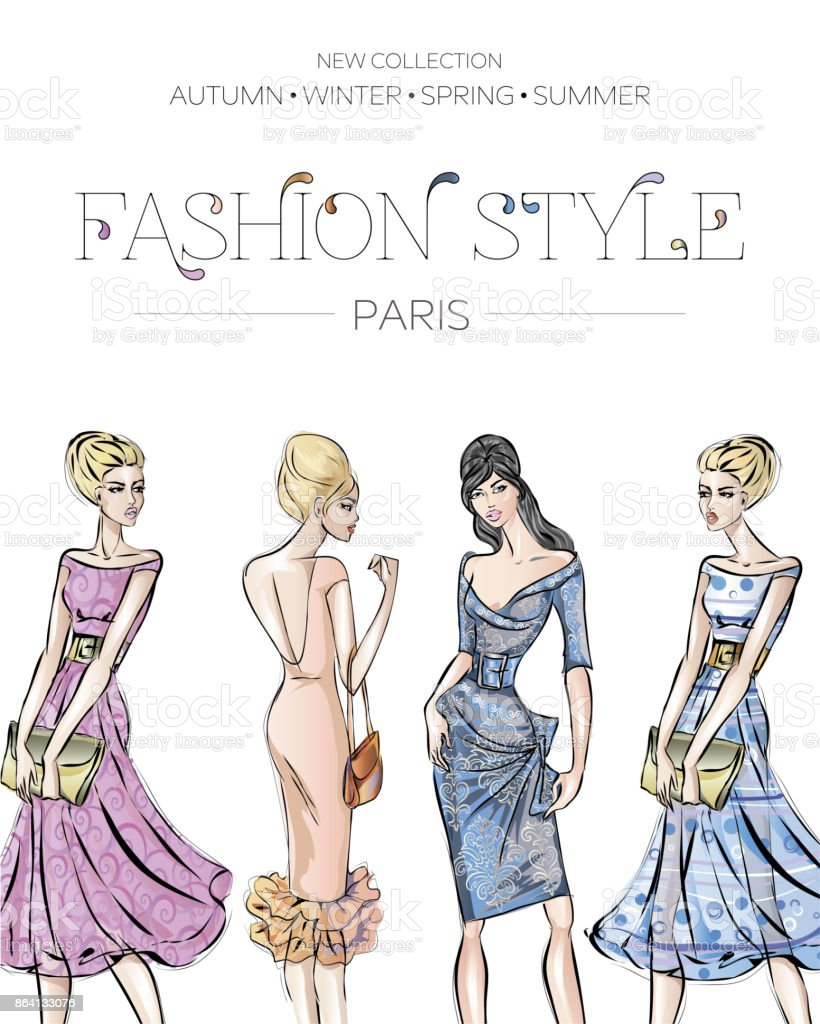 Fashion advertising brochure with set of beautiful women models, Paris business card, beauty girls hand drawn vector illustration royalty-free fashion advertising brochure with set of beautiful women models paris business card beauty girls hand drawn vector illustration stock vector art & more images of adult