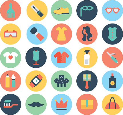 Fashion and Beauty Colored Vector Icons 6
