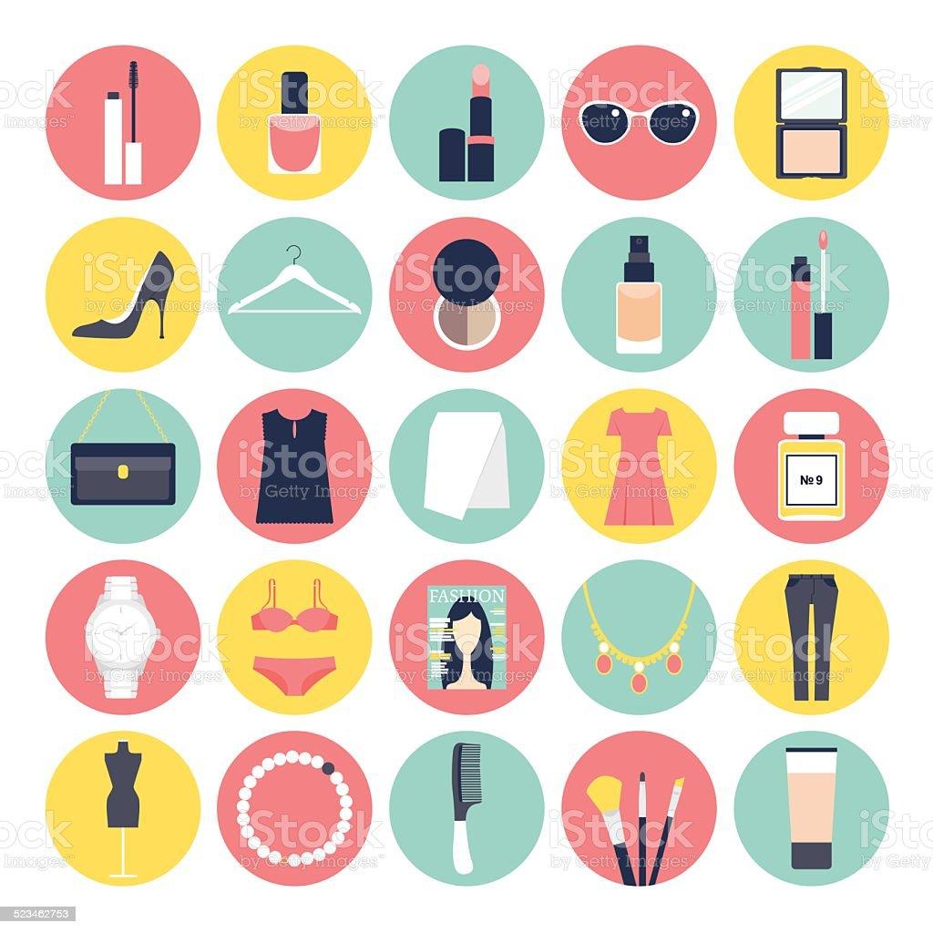 Fashion and Beauty Flat Icon Set vector art illustration