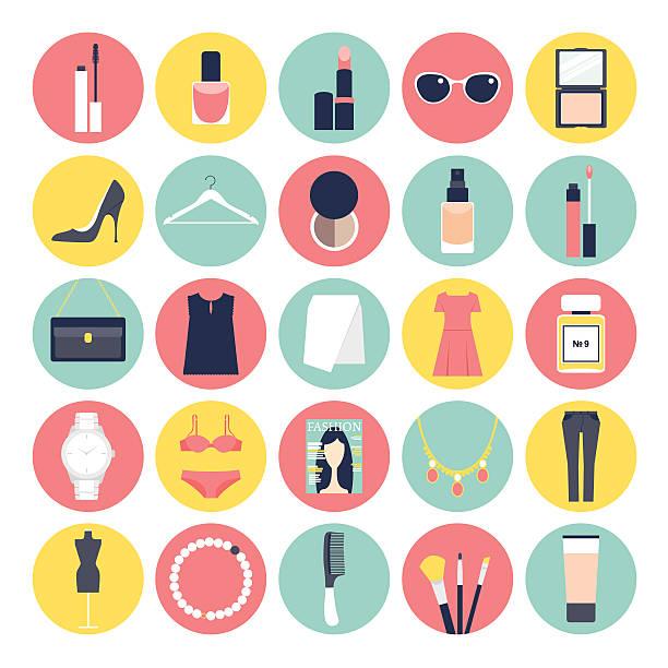 illustrations, cliparts, dessins animés et icônes de mode et beauté ensemble d'icônes plat - mode maquillage