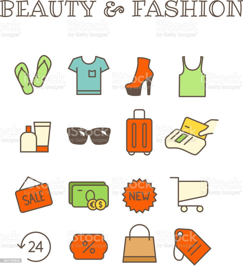 Fashion and beauty thin line color icons vector set royalty-free fashion and beauty thin line color icons vector set stock vector art & more images of arts culture and entertainment