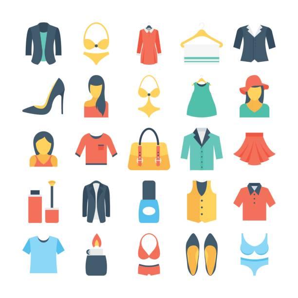 stockillustraties, clipart, cartoons en iconen met mode en kleding gekleurde vector icons 2 - men blazer