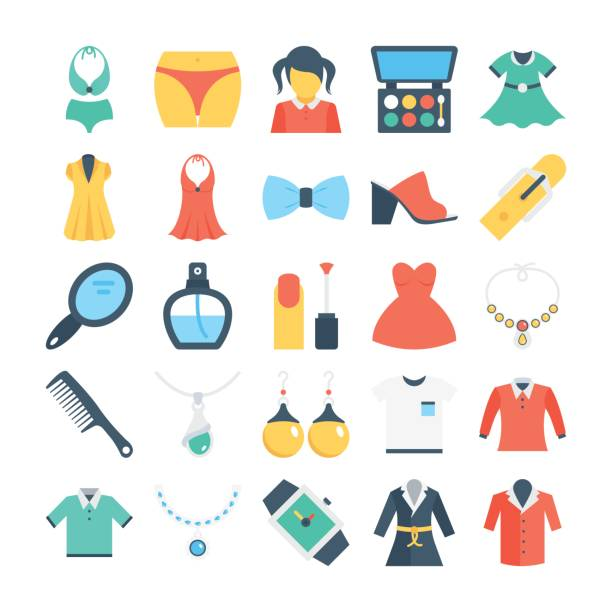 Fashion and Clothes Colored Vector Icons 3 Set of fashion and clothes flat colored icons. little girls in panties stock illustrations