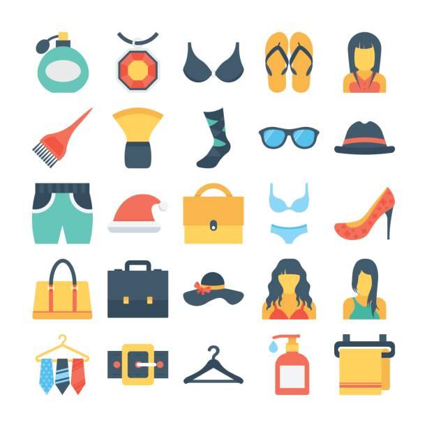 mode und kleidung gefärbt vektor-icons 8 - laptoptaschen stock-grafiken, -clipart, -cartoons und -symbole
