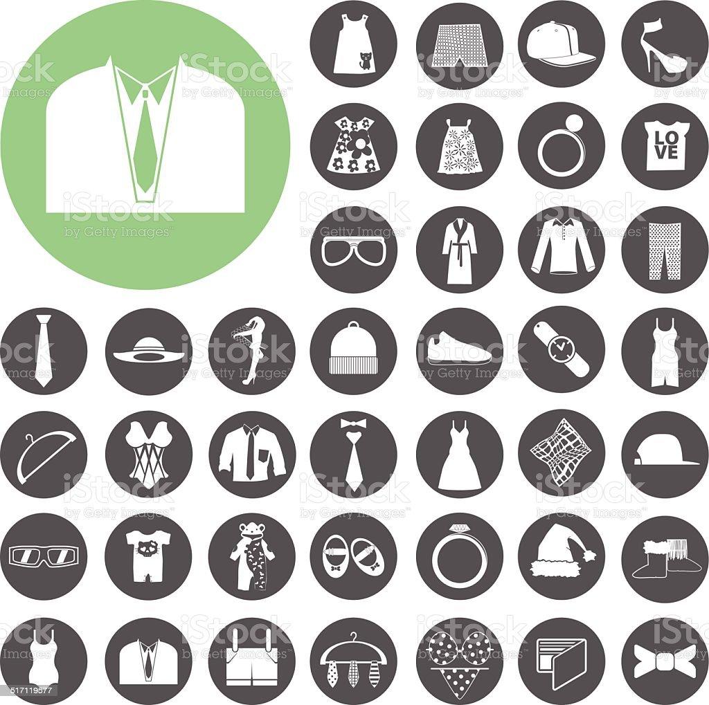 Mode und Kleidung Symbole set.  Vektor-Illustration eps10 – Vektorgrafik