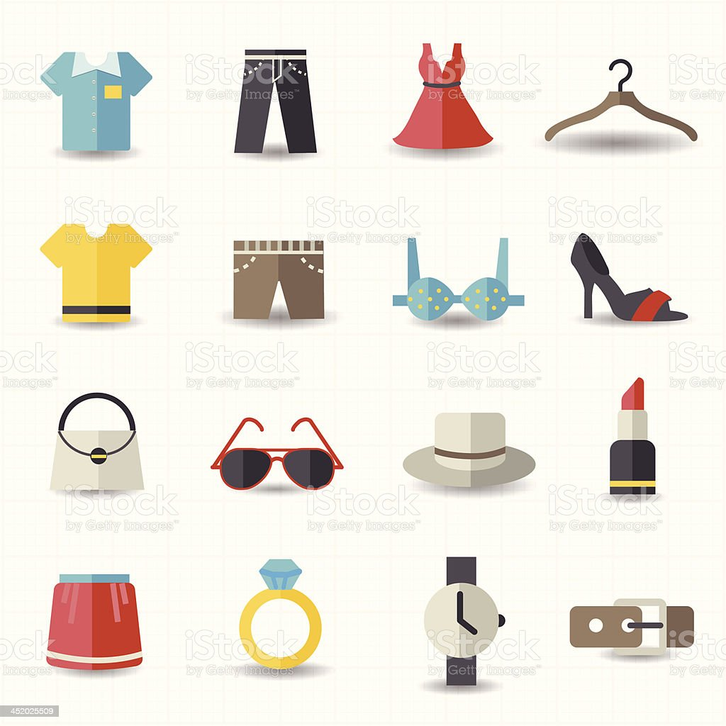 Fashion and clothes icons vector art illustration