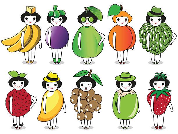 illustrazioni stock, clip art, cartoni animati e icone di tendenza di moda e frutta carattere illustrazione set - pesche bambino