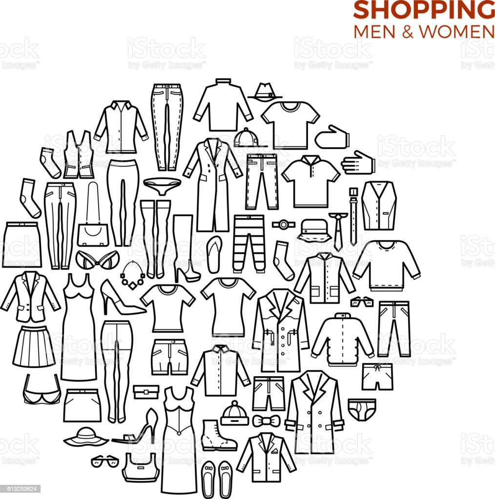 Fashion and shopping concept with clothes thin line vector icons - ilustración de arte vectorial