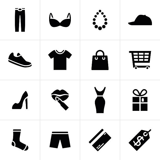 fashion and shopping icons - shoes fashion stock illustrations, clip art, cartoons, & icons