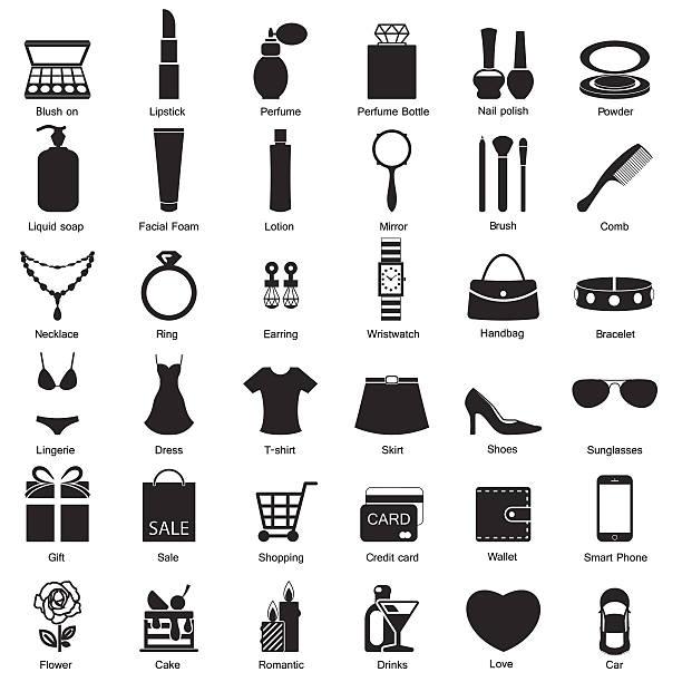illustrations, cliparts, dessins animés et icônes de mode femme et des accessoires, des icônes - mode maquillage
