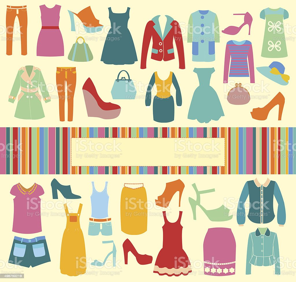 Mode Hintergrund Vektor-icons-set-Illustration – Vektorgrafik