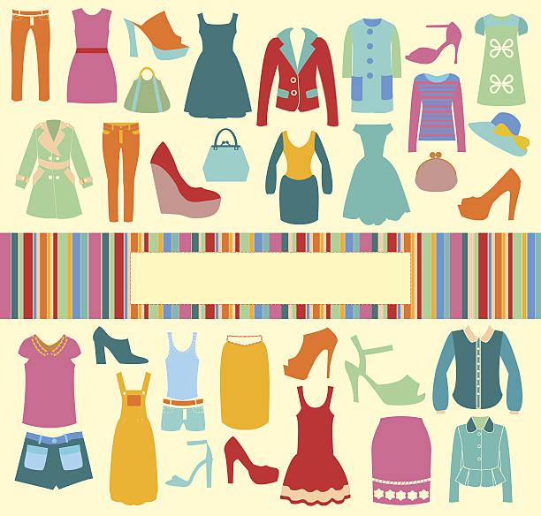 mode hintergrund vektor-icons-set-illustration - damenmode stock-grafiken, -clipart, -cartoons und -symbole