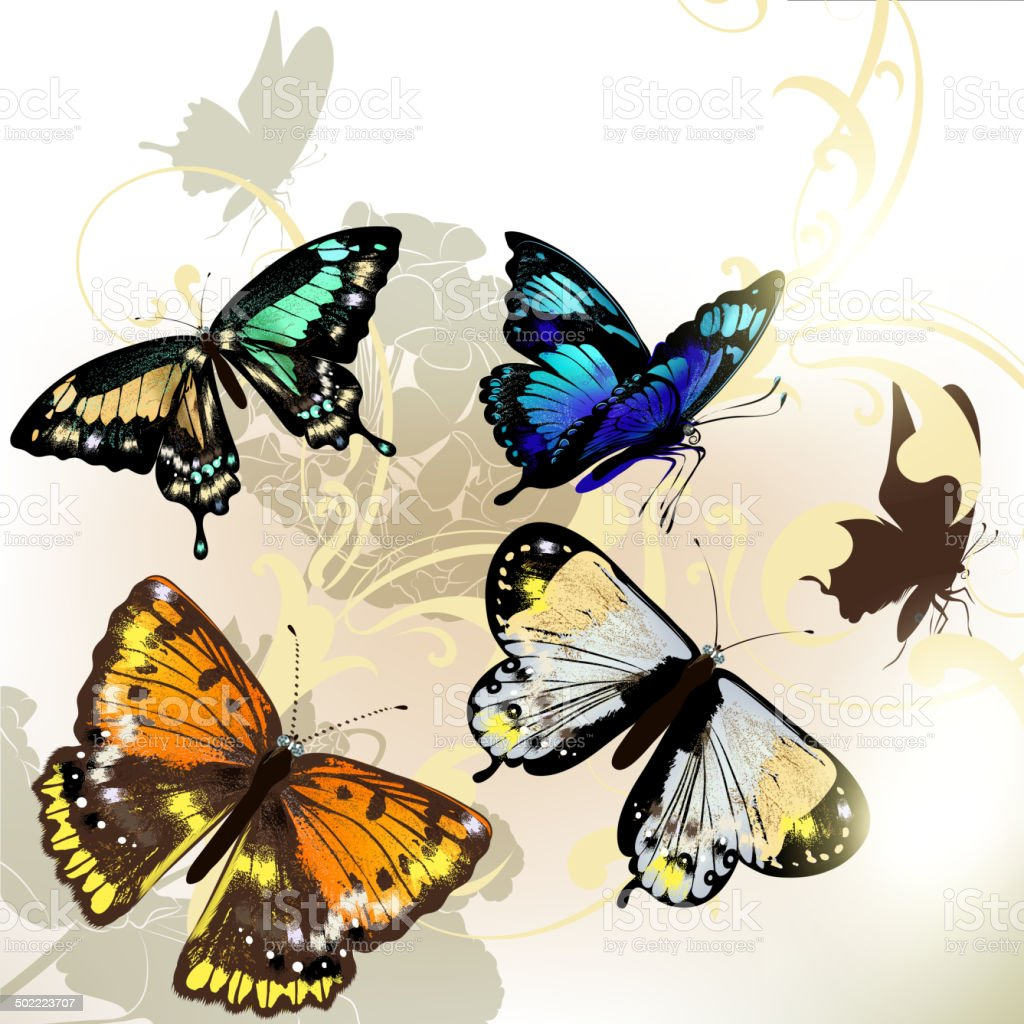 6acf900d6e Fashion Background With Vector Butterflies Stock Vector Art   More ...