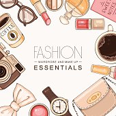 Vector hand drawn fashion background with woman's accessories and cosmetics. Hipster illustration with bag, make up tools, coffee, glasses, hand watch and photo camera