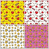 Hearts, Money, Diamonds, Crown and Golden Keys Seamless Pattern Set. Fashion Backgrounds in Retro Style. Vector illustration