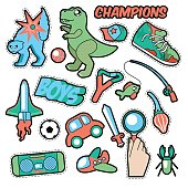 Fashion Badges, Patches, Stickers Boys Theme