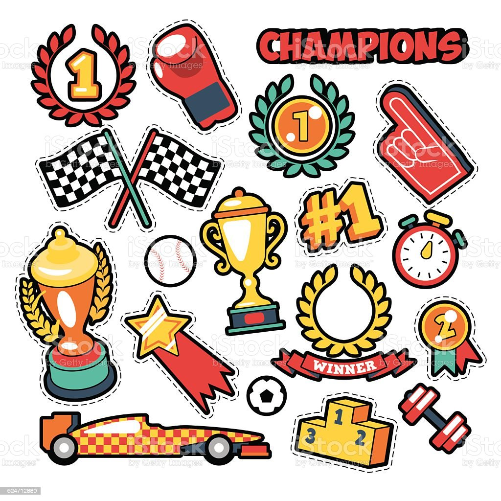 Fashion Badges, Patches, Stickers Champions Theme vector art illustration