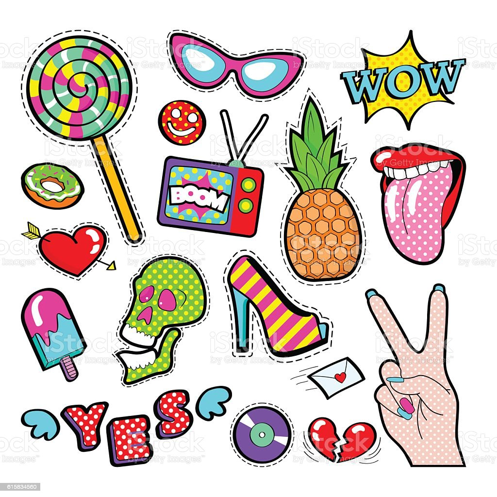 Fashion Badges, Patches, Stickers Girls Elements Lips, Heart Comic Style vector art illustration