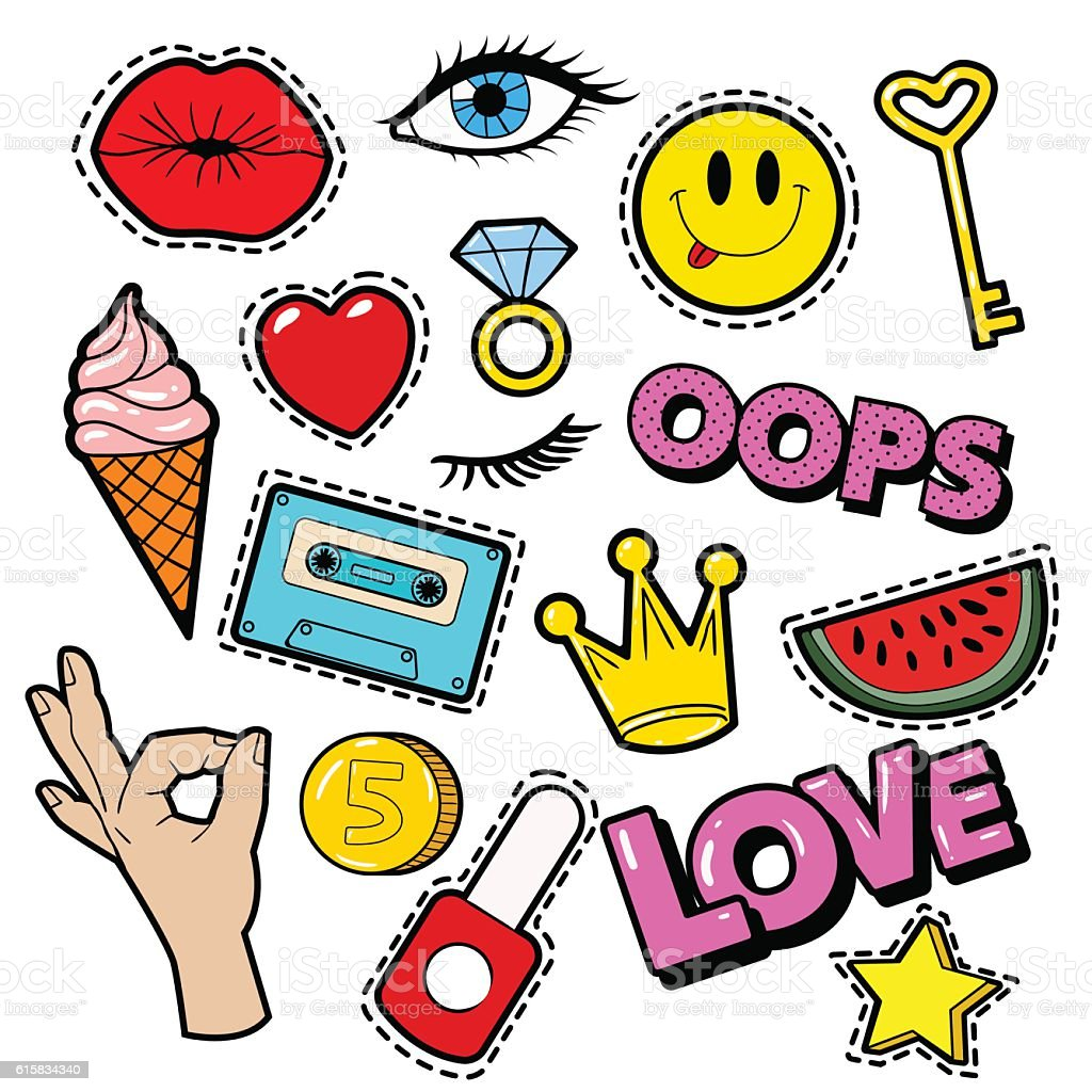 Fashion Badges, Patches, Stickers, Lips, Heart, Star in Comic Style - illustrazione arte vettoriale