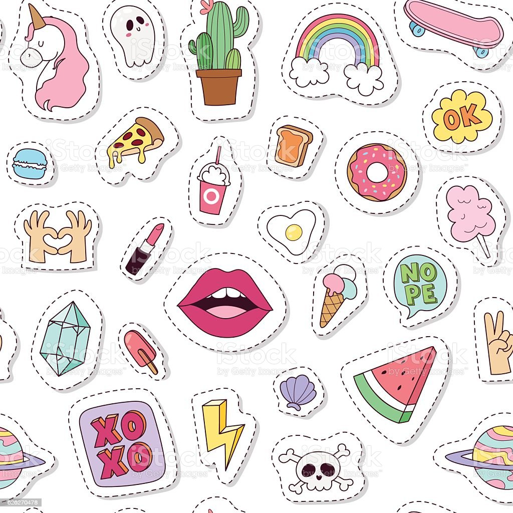 Fashion badges seamless pattern vector illustration. vector art illustration