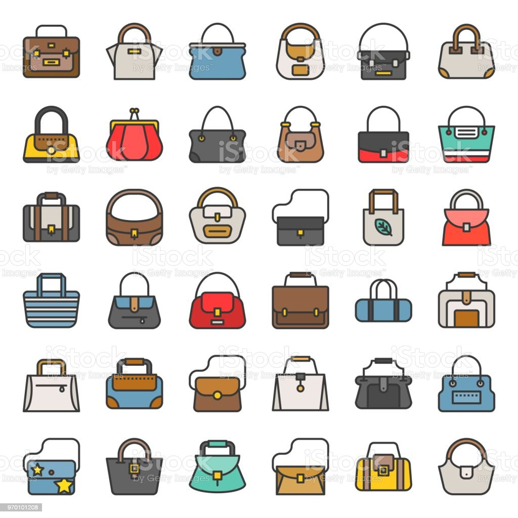 Fashion Bag Filled Outline Icon In Various Style Such As Tote Bag
