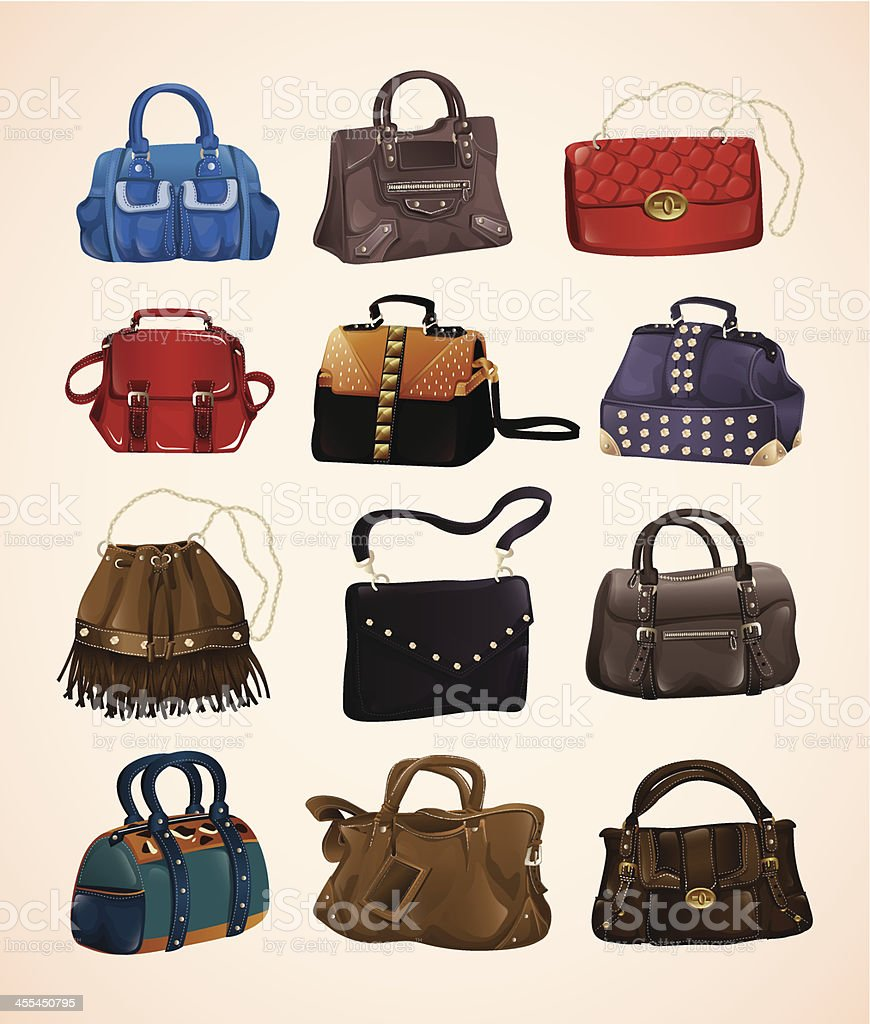 Fashion bags set vector art illustration