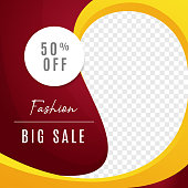Fashion big sale multipurpose social media post background template. discount promotion web banner with transparent space vector design.